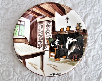 Vintage French Plate, rustic french, french country living, painted plates, handpainted items, stylized french