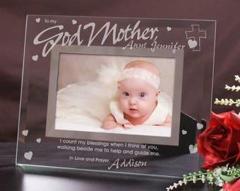 Personalized Godparent Glass Picture Frame Godmother Godfather Glass Photo Frame
