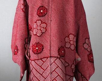 second hand Japanese haori and kimono jacket for women, shibori, silk, red, ajiro, wickerwork pattern, flower