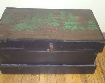 wooden tool box etsy. vintage wooden trunk with beautiful picture of deer in the woods, tool chest box etsy t