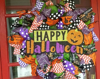 Pumpkin Halloween Mesh Wreath, Trick or Treat Wreath, Halloween Door Wreath, Hocus Pocus, the Witch is In Wreath, Halloween Door Decor