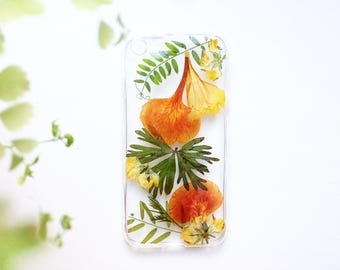Palm phone case iPhone SE Tropical phone case banana leaves Plastic phone case Pressed flower phone case Exotic phone cases Palm tree case