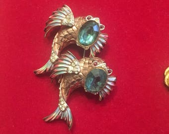 Coro Craft Sterling Rock Fish Duette Clips, Jewelled Dolphins, 1944.