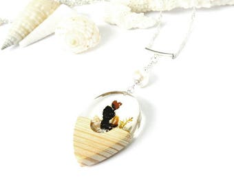 beach wedding pendant, pearl necklace, bridal, unique necklace, handcrafted with native wood, shell, lichen and pearls, brides jewelry