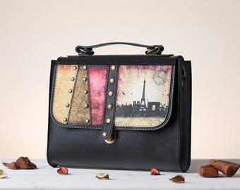 Around the World - Paris Crossbody Bag | Handmade, Eco Leather Bag, Leather, Personalize Your Bag, Black, London, Barcelona, New York