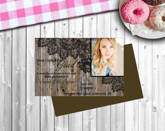 "Personalized Graduation Announcements - ""Rustic Grad"" - Style #403"