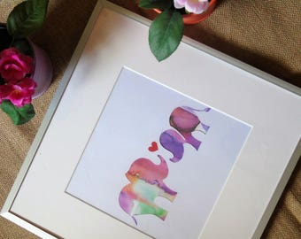 watercolour elephants, gifts, father son, mother, daughter, son unique gift, new baby, nursery, framed, handmade valentines, couples paper