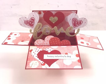 Valentines Day card, love card, card in a box, handmade love card, handmade Valentine's Day card, card for her