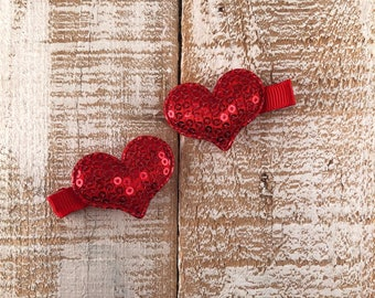 Valentines Day Red Sequin Heart Hair Clip, Piggy Tail Clip Set, Toddler Hair Clip, Girls Valentines Day Hair Clip