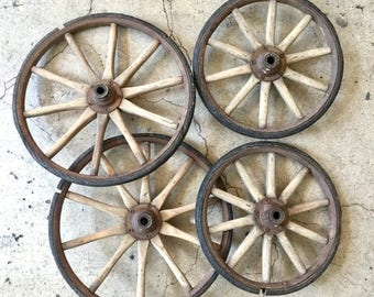 Antique Wagon Wheels, Wooden Spokes, All Four, Ca: 1890s.