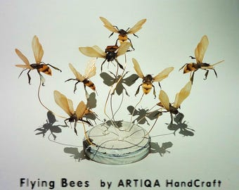 interior,art,object,sculpture,rare,honey,bee,wasp,hornet,drone,bumble bee,shabby chic,tabletop,display,desktop,accessory,white,nature,animal