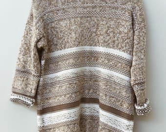 Multi Brown and White Vintage Hand Knitted Pullover