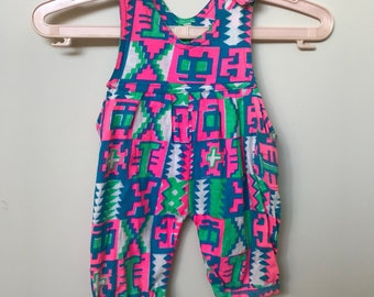 90s Flouro Baby Pink Blue Overall Romper