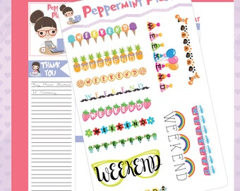 Weekend Banners, Planner Stickers, #360