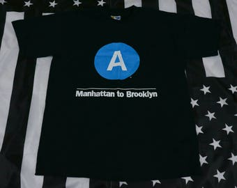 Vintage 90s NYC Subway Line A Train Manhattan to Brooklyn T shirt Size M Mass Transit MTA Style Wars