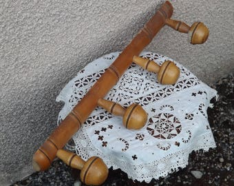 Antique french rack faux bamboo. Faux bamboo wall hooks. French wood rack 4 hooks.