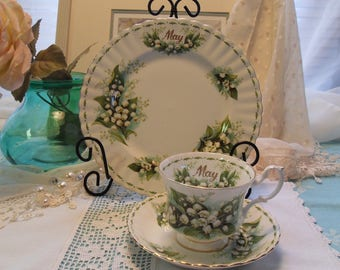 Teacup Trio Royal Albert Lily of the Valley May Flower of the Month Series
