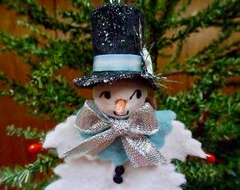Holly Leaf Snowman Ornament, Snowman Ornament, Handmade Ornament, Felt Ornament, Felt Snowman, Handmade Snowman