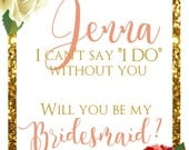 Floral Coral Bridesmaid Proposal - Wine Bottle Label