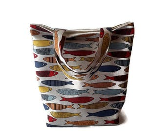 Colourful Fish Print – Small Handbag / Small Tote / Ladies Purse / Small Purse / Ladies Tote / Ladies Handbag