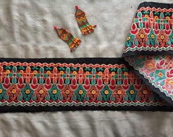 Black Red Indian Embroidery Trim,Kutchi Navratri Multicolour Trim,Boho Gypsy Tribal Lace,Indian Broad Sari Border,12cm W Price/Mtr