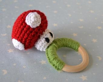 Marío Bross, mushroom Rattle Teether rattle, amigurumi Marío Bross, nintendo, snowman Marío Bross, Marío Bross mushroom
