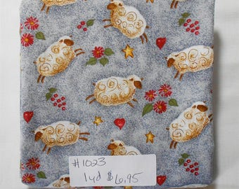 Fabric -1 yd piece-Baby/Sheep/Heart/Star-At Home by Valorie Evers Wenk (#1023) Country Style Print/sheep with cute swirls/red flowers/love