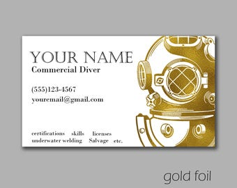 commercial diver business card custom printable pdf