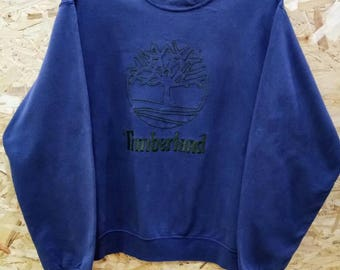 Vintage 80s 90s Timberland Weathergear Sweatshirt/ Spell Out Embroidered Logo Timberland/ Navy Blue Colour