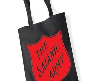 The Satanic Army Tote Bag, halloween tote bag, satanic badges