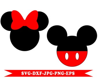 Mickey and Minnie svg Disney clip art in SVG, EPS, DXF, PNG, JPG format. For Silhouette, Cricut Space, vinyl cutting machines, embroidery