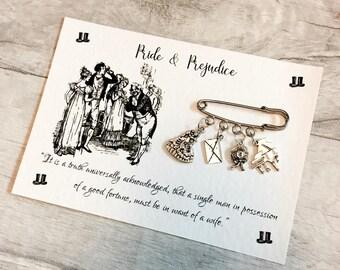 Pride And Prejudice Brooch, Literary Pin, Mr Darcy, Jane Austen Quote, Book Lover