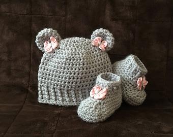 Bear Newborn Outfit, Crochet Bear Hat, Newborn Crochet Outfit, Newborn Crochet Bear Outfit, Newborn Crochet Booties, Baby Girl Crochet Outfi