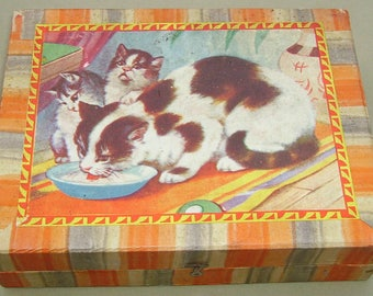 1930's Picture Puzzle Block Set  Farm and domestic animals Cat Dog Sheep Horse Cow Lamb