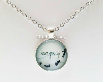 Peter Pan Pendant Necklace/Never Grow Up Pendant Necklace/Peter Pan Pendant Chain/Character Necklace/Cartoon Necklace/Peter Pan Necklace
