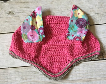 Miniature Horse Fly Bonnet - Pink Fly Bonnet - Mini Fly Bonnet - Fly Bonnet - Equine Ear Veil - Miniature Horse - Crochet - Ready to Ship