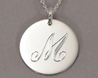 "Monogram initial necklace sterling silver personalized monogram necklace engraved monogrammed jewelry initial pendant disc charm M 3/4"" STLS"