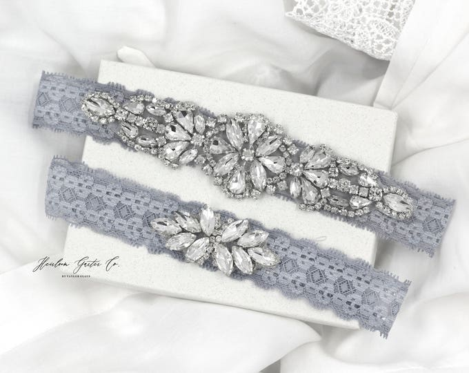 Wedding Garter, NO SLIP Lace Wedding Garter Set, Something Blue bridal garter set, vintage rhinestones, pearl and rhinestone garter set
