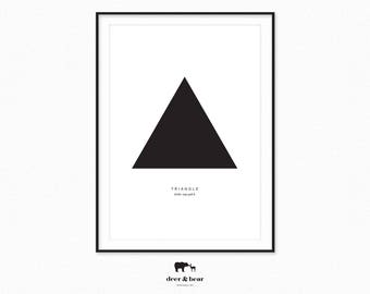 Black Minimal Triangle Poster Modern Geometric Minimalist Home Decor Scandinavian Design Large Wall Art Nordic Scandi Chic Style Digital
