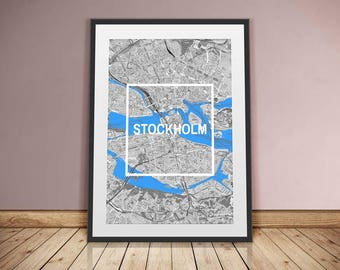 Stockholm-framed city-digital printing