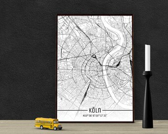 Cologne-Just a map-din A4/A3-Print