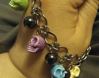Glass Skull Charm Bracelet