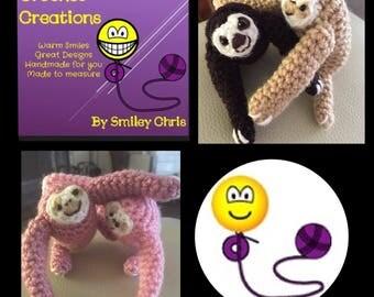 SLOTHS - Crocheted, handmade, PAIR