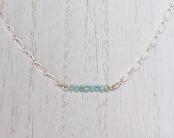 Blue Glass Silver Chain Choker Necklace