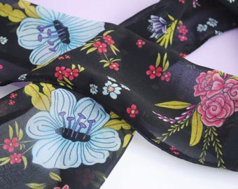 Black and Blue Floral Skinny Scarf