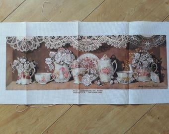 Dimensions GC1271 Crewel Canvas (not full kit), Printed Crewel Canvas, Printed Embroidery Canvas, Pretty Jugs Teacups Flowers