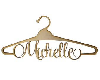 Custom Personalised Coat Hanger Wedding Dress Hanger - Laser Cut Wood
