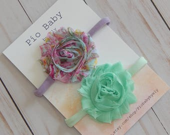Shabby chic flower headbands, Baby girl flower headbands,Nylon Headbands, Cute hair bows, One size fits all bows, Baby shower gift