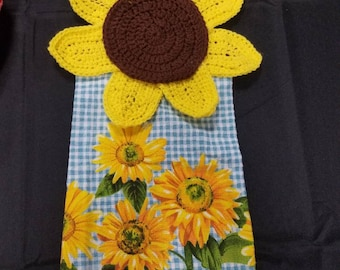 Crochet Sunflower Kitchen Towel
