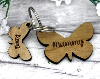 Personalised Keyring for Mum-Mother's Day Keyring-Mummy Keyring-wooden keyring personalised-Family Name Keyring-Personalised gift for mum